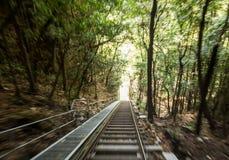 Scenic Railway to valley Katoomba Australia. Scenic railway down cliffside at Katoomba in majestic Blue Mountains near Sydney NSW Australia stock image