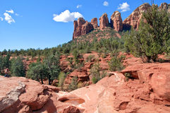 Scenic red stone landscape of sedona, in arizona Stock Images