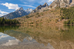Scenic Reflection of the Tetons in Fall Stock Photography