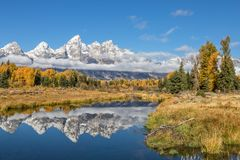 Teton Autumn Reflection. A scenic reflection of  the Tetons in Wyoming in fall Royalty Free Stock Photo