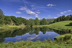 Scenic reflections in river Stock Photo