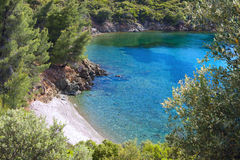 Scenic remote beach in Greece Royalty Free Stock Photography