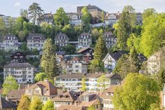 Scenic of residental buildings in The city of Bern. The capital of Switzerland. Bern is built on very uneven ground Stock Photos