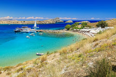 Scenic Rhodes island, Lindos bay and beach. Greece Royalty Free Stock Photography