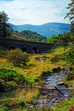 Scenic river and bridge view. A beautiful and serene view of a river with a bridge and mountain in the background Stock Photography