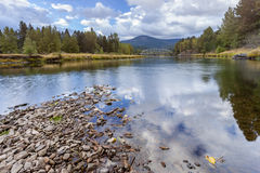 Scenic river in Cataldo, Idaho. Stock Photo
