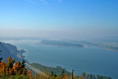 Scenic river overlook. Scenic panorama overlooking a wide river Royalty Free Stock Photos