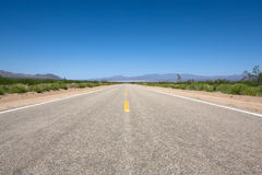 Scenic road. In the Mojave park at summer day Royalty Free Stock Image