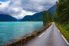 Scenic road along the Lustrafjord branch of greater Sognefjord Luster Sogn og Fjordane Norway Scandinavia royalty free stock image