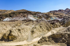 Scenic road Artists Drive in Death valley with colorful stones Stock Images