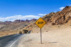 Scenic road Artists Drive in Death valley with colorful stones, Royalty Free Stock Photography