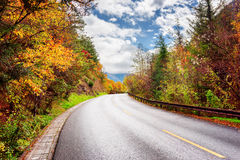 Scenic road among colorful fall woods. Amazing autumn landscape Stock Images