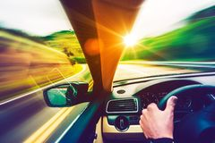 Scenic Road Drive. Scenic Summer Drive. Mountain Road and Sunset Scenery From the Speeding Car. Scenic Road Royalty Free Stock Photography