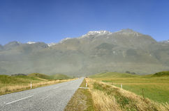 Scenic road landscape in NZ. Royalty Free Stock Images