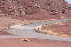 Scenic road in Northern Arizona. Curve in road in scenic desert road in North-Western Arizona Stock Photo