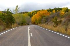 Road Through the Forest Through the Autumn Landscape stock photos
