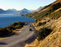 New Zealand Scenic Road, Queenstown Landscape Mountains stock photo
