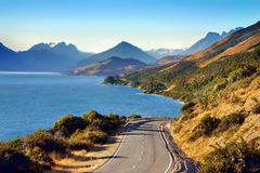 New Zealand Scenic Road, Queenstown Landscape Mountains royalty free stock photo