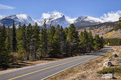 Scenic road in Rocky Mountain National Park, CO. A scenic road winds through Rocky Mountain National Park in Colorado Royalty Free Stock Images