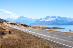 Scenic Road to Mount Cook National Park. Stock Images