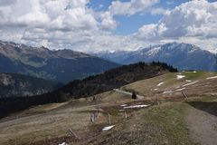 Scenic road to pass Giovo in mountains Alps South Tyrol Italy Royalty Free Stock Photography