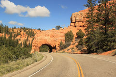 Scenic Road To Red Arch Tunnel, Utah USA Stock Photo