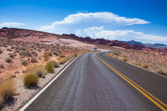 Scenic road to Valley of fire state park Royalty Free Stock Image