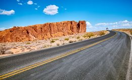 Scenic road with unique rock formations, USA. Stock Images