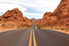 Scenic road in Valley of Fire State park, Nevada, USA Stock Photos