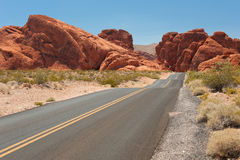 Scenic road in the Valley of Fire Stock Photo