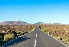 Road to Timanfaya National Park, Lanzarote, Canary Islands, Spain. Stock Photography