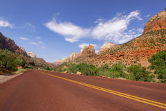 Scenic road through Zion national park Stock Photo