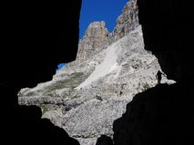 Scenic rock silhouette in the Dolomites stock photography