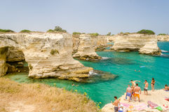 Scenic rocky cliffs of Torre Sant Andrea, Salento, Italy Royalty Free Stock Images