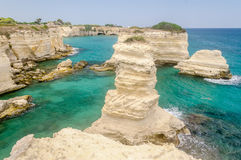 Scenic rocky cliffs of Torre Sant Andrea, Salento, Italy Royalty Free Stock Image