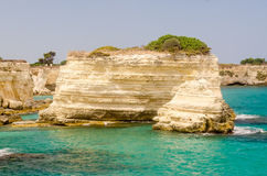 Scenic rocky cliffs of Torre Sant Andrea, Salento, Italy Royalty Free Stock Photography