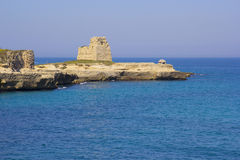 Scenic rocky cliffs on the waterfront of Salento. Rocky cliffs on the coast between Roca and Torre dell'Orso in Salento Stock Images