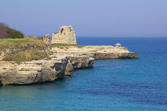 Scenic rocky cliffs on the waterfront of Salento. Rocky cliffs on the coast between Roca and Torre dell'Orso in Salento Stock Image