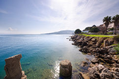 Scenic rocky coastline - August 2016, Argentario, Tuscany stock photography