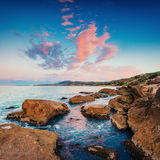 Scenic rocky coastline Cape Milazzo.Sicily, Italy. Royalty Free Stock Photography