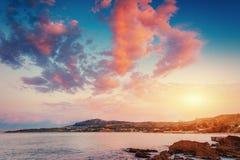 Scenic rocky coastline Cape Milazzo. Sicily, Italy. Stock Photography