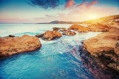 Scenic rocky coastline Cape Milazzo. Sicily, Italy Stock Photo