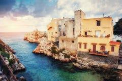 Scenic rocky coastline Cape Milazzo. Sicily Italy Royalty Free Stock Photos