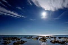 Scenic rocky coastline Cape Milazzo. Sicily, Italy. Royalty Free Stock Image