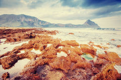 Scenic rocky coastline Cape Milazzo. Sicily, Italy Stock Photography