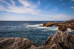 Scenic rocky shoreline in La Verna Preserve Royalty Free Stock Image