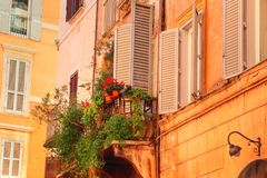 Rome streets in historic part of town stock images
