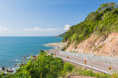 Scenic route along blue sea Royalty Free Stock Photo