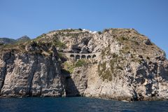 Scenic route from Sorrento to Salerno along the Amalfi Coast. Campania,. Italy royalty free stock photo
