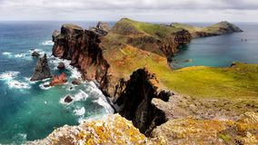 Madeira, East  Rocky Coast, San Lorenzo, Portugal. Scenic rugged coastline and Atlantic Ocean panorama view. San Lorenzo, east coast, Madeira, Portugal Stock Images
